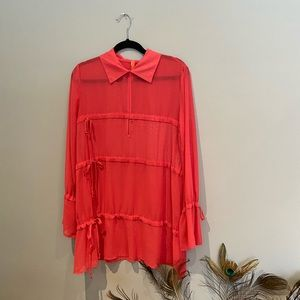Coral Boho Tunic with Bell Sleeves, M
